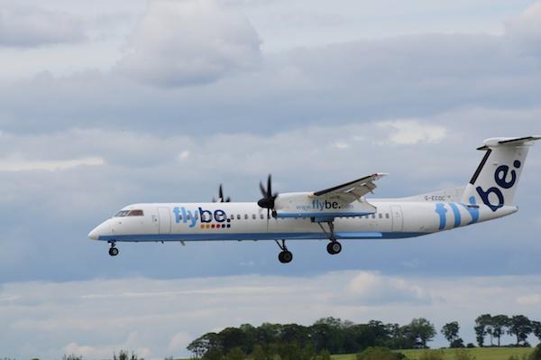 Edinburgh Airport Flybe plane landing