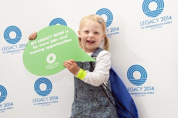 Emily Gray (3 years old, from Falkirk) poses with her legacy wish as part of the  Legacy Tour at The Gyle shopping Centre