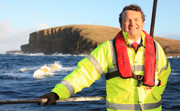 Martin McAdam CEO Aquamarine Power and the Oyster wave energy machine (Copyright Orkney Media Group)
