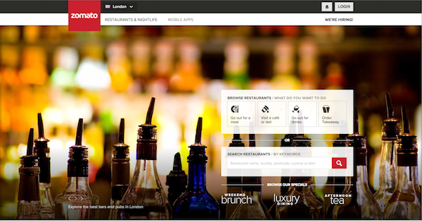 Zomato UK homepage
