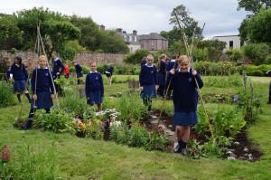 Belhaven-Hill-School-pupils-in-the-walled-garden