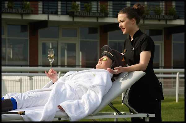 Jockey Joanna Walton gets pampered by Stobo Castle therapist ahead of Ladies Day 2014