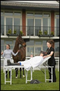 Jockeys Joanna Walton and Lizzie Butterworth get pampered by Stobo Castle therapist ahead of Ladies Day (3)