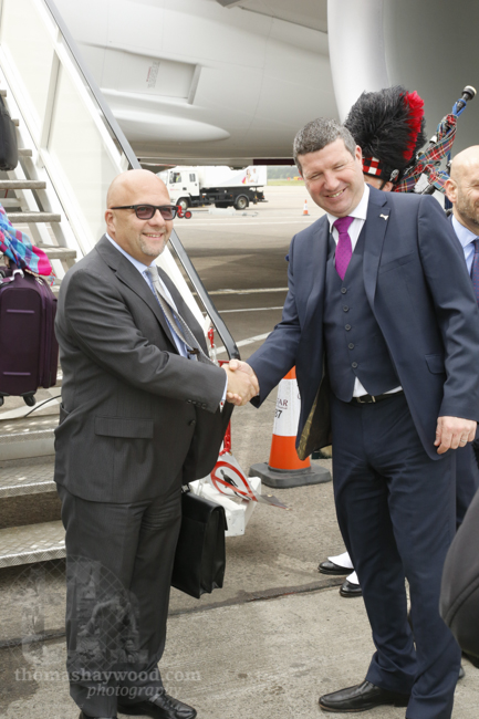 The Chief Commercial Officer, Marwan Koleilat is greeted by Gordon Dewar the CEO of Edinburgh Airport