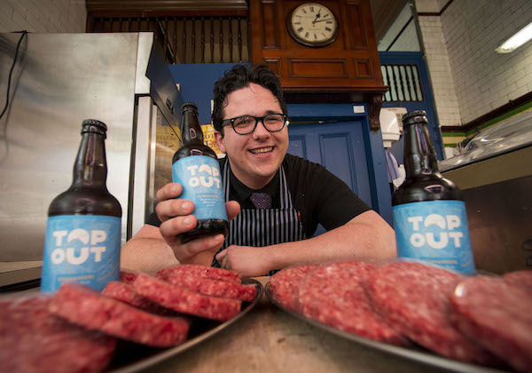 Graeme Wetherill, butcher at W. M. Christie in Edinburgh, with his specially created beer burger  (1)