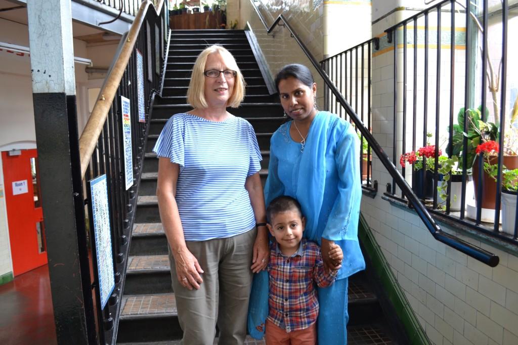 Edinburgh College Home Learning Scheme tutor Rose McKendry with student Bina McCracken with her son.