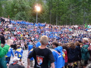 Camp fire at Kandersteg, International Scout Centre, Switzerland.