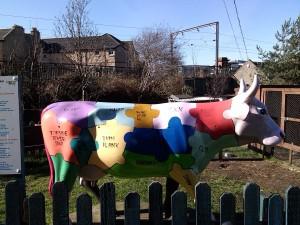 Painted cow model at Gorgie Farm - Copy