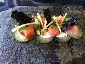 Cured Salmon with Seaweed and Apple