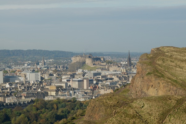 TER Edinburgh Castle from Arthur's Seat with the crags in the photo