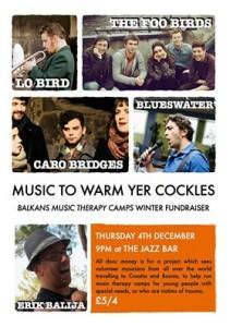 balkans music camp fundraiser poster