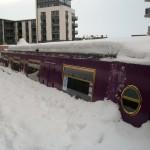 re-union boat in snow