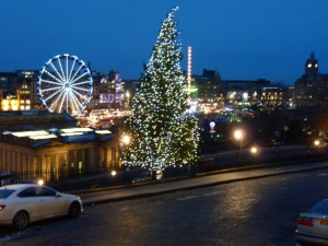Christmas perspective, from the Mound, Edinburgh