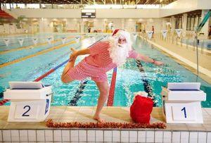santa at swimming pool