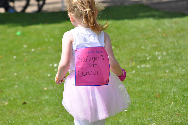 Little girl with back sign