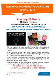 legal highs drugs awareness session poster