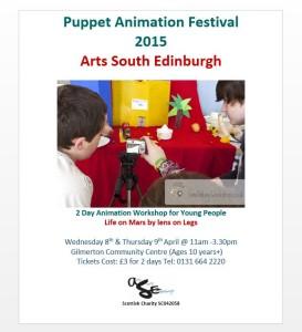 puppet animation workshop at Gilmerton Community Centre Easter 2015