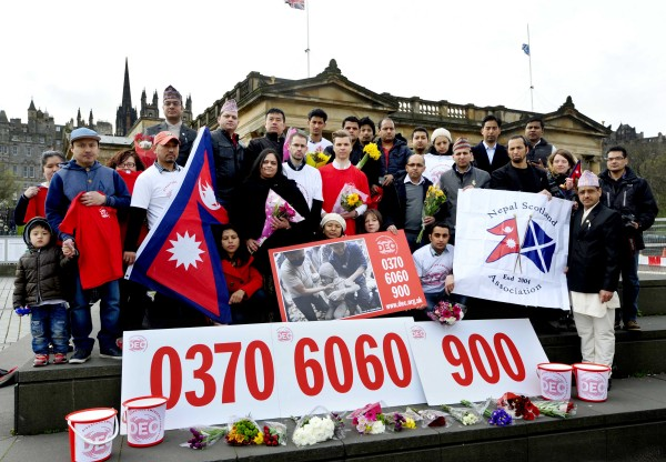 FREE PICTURE:  Nepal Earthquake Appeal in Scotland, Tues 28/04/2015: Members of the Scottish Nepalese community join the Nepalese Consul (Mrs Sunita Poddar, the Honorary Consul of Nepal, based in Glasgow ) and the Disasters Emergency Committee (DEC) participating charities to launch the Nepal Earthquake Appeal in Scotland - at the foot of The Mound, Edinburgh.   More info from: Graham Burgess, DEC Scotland Media Lead, on 0141 285 8875 or 07880 785 159.  Photography for the DEC / Oxfam Scotland from: Colin Hattersley Photography - 07974 957 388 - www.colinhattersley.com - colinhattersley@btinternet.com