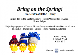 Ratho Library carfts poster Easter
