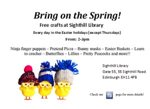 sighthill library easter crafts poster