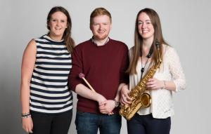 Amanda MacLeod (mezzo-soprano), Finlay Turnball (percussion) and  Jessica Bennett (saxophone). Image: Joseph Wilson