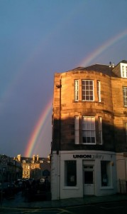 Union Gallery exterior with rainbow