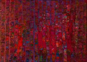 Bernat Klein (1922-2014), Red Transition (detail), 1968, 134.5 x 187cm, oil, tweed and polyester fabric laid on canvas, photo credit Jed Gordon
