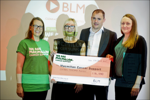 Eloise Armstrong(left) from Macmillan cancer Support with some of the 22 representatives from BLM, who recently completed the EMF Edinburgh Marathon (Sunday 31 May) to raise funds for BLMís corporate charity partner, Macmillan Cancer Support.     Left to right Eloise Armstrong, Katie Anderson, Jamie Varney & Kelly Brotherhood