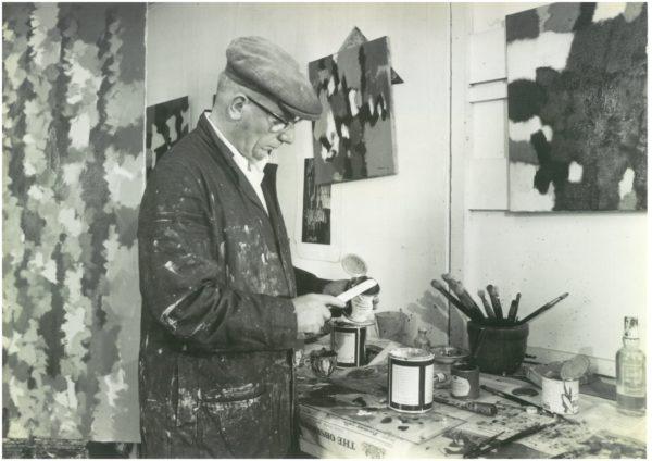 William Gear working in his studio at Towner Art Gallery, 1962, Ciniflex Studios