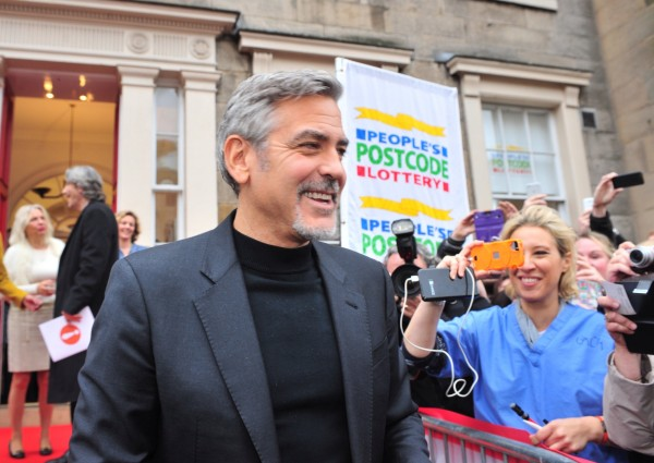 Free To Use - George Clooney causes chaos on George Street as he visits People's Postcode Lottery HQ