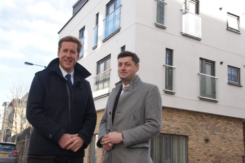 Richard Jennings Head of Property at Castle Rock Edinvar and Councillor Cammy Day Housing Convener outside a Castle Rock Edinvar property on Calton Road