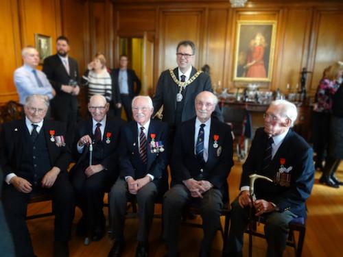 The Lord Provost welcomes recipients of Chevalier de la Légion d'Honneur (L-R) Alexander Addison, Thomas Gilzean, David Watt, Jim Stirling, Alexander Mees