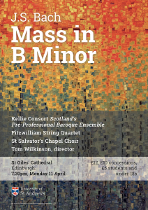 Kellie Consort Bach Mass in B Minor poster