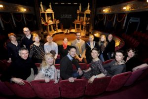 """FREE PICTURE: David Greig starts as new artistic director at The Royal Lyceum Theatre, Edinburgh, Tuesday 03/05/2016: Royal Lyceum Theatre Edinburgh new artistic director David Greig announces first theatrical season, Edinburgh, Tuesday 03/05/2016: New artistic director of the Royal Lyceum Theatre Edinburgh, pictured with his creative collaborators for the 2016-17 season, with the set of """"Iliad"""" - David's first production. With David (front centre) are (front row from left): John Browne, Amanda Gaughan (correct) (David Greig), Wils Wilson (correct), Daniela Nardini and Linda McLean. Back row from left are: Karine Polwart, Douglas Maxwell, Zinnie Harris, Ramin Gray, Janice Parker, Max Webster, Cora Bissett, Jenny Lindsay, Dominic Hill. Free FIRST USE (ONLY) picture. More info from: Clare McCormack, Senior Publicist at The Corner Shop PR: email: press@lyceum.org.uk /07989 950871 or Harriet Mould, The Lyceum Press and PR Officer: email: hmould@lyceum.org.uk / 0131 202 6220 / 07454 816 116 Photography from: Colin Hattersley Photography - colinhattersley@btinternet.com - www.colinhattersley.com - 07974 957 388"""