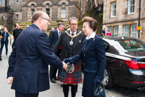 The Princess Royal visits Edinburgh Tattoo offices 3 - shaking hands with Brigadier David Allfrey