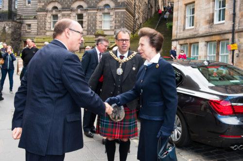 The Princess Royal visits Edinburgh Tattoo offices 3 - shaking hands with Brigadier David Allfrey