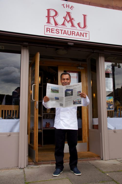 Tommy Miah of The Raj Blackhall Venue 386 during the Fringe reading The Edinburgh Reporter