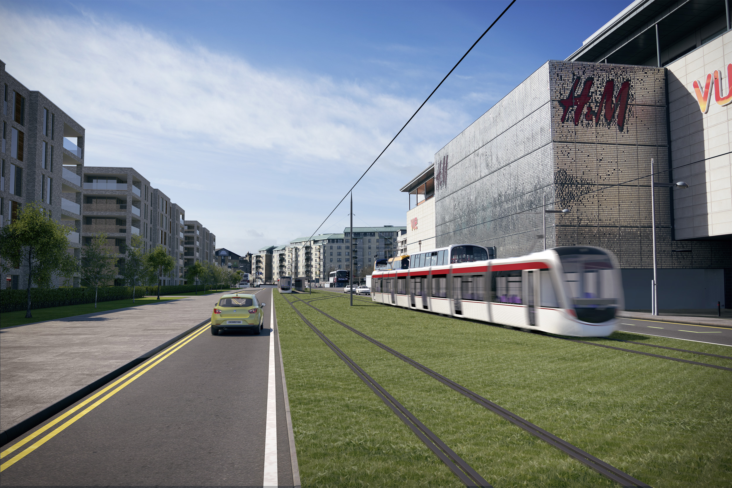 Illustration of what tram would look like arriving at Ocean Terminal
