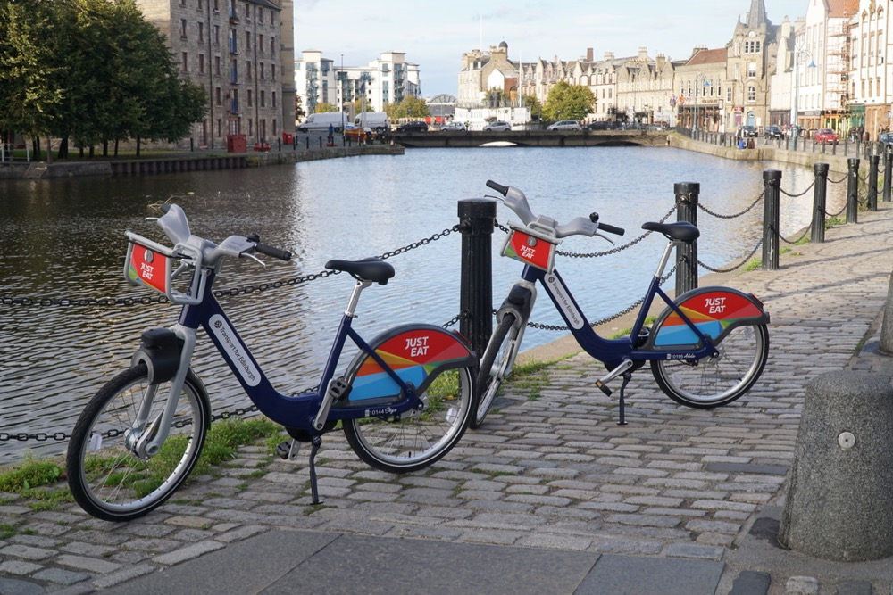 Two bikes at The Shore Leith