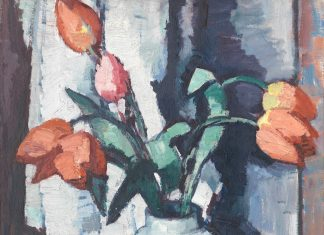 Tulips in a Chinese vase by Peploe