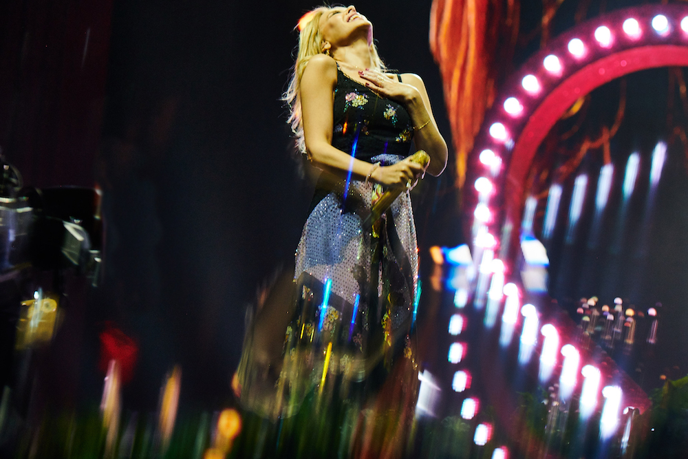Kylie performing in concert