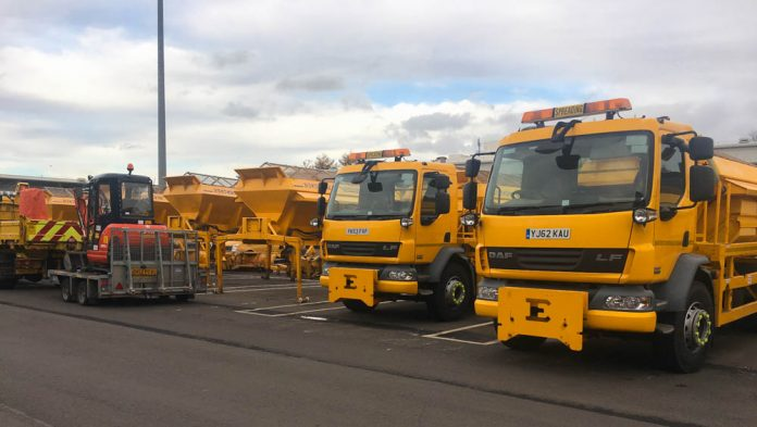 Council Gritters lined up ready for Winter