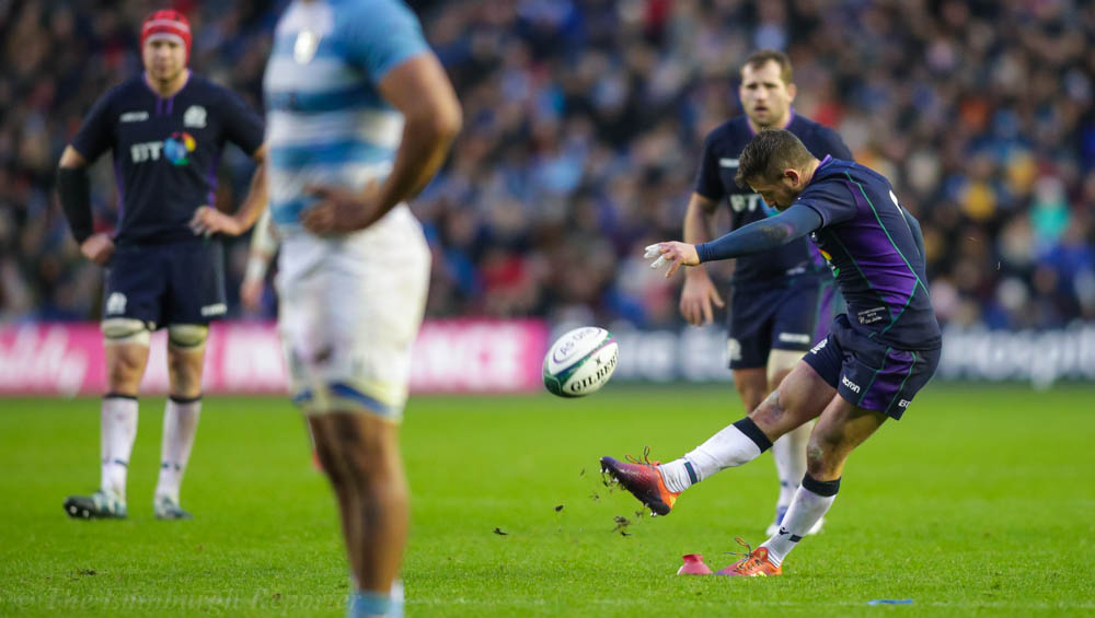 Man-of-the-Match Greig Laidlaw kicking for goal.