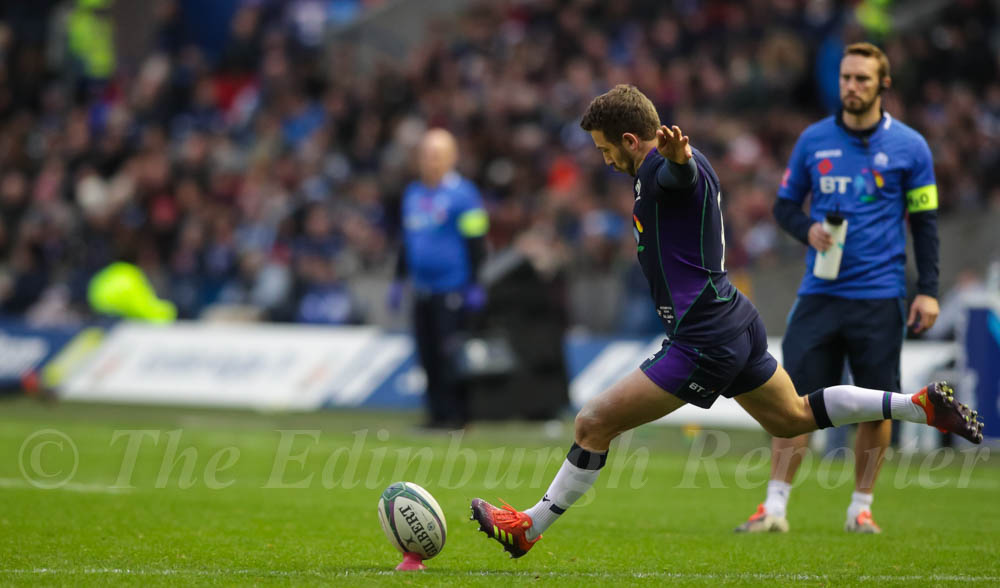 Greig Laidlaw kicking for goal. © J. L. Preece