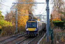 Train travelling through cutting