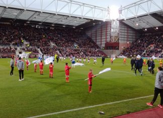 Tynecastle as the players come onto the pitch