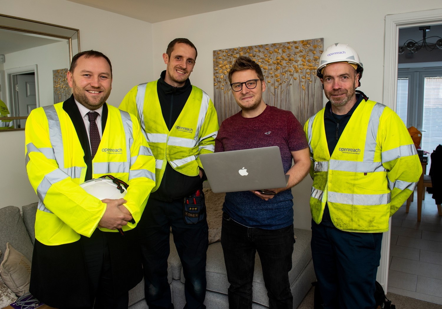Ian Murray with Openreach engineer and resident