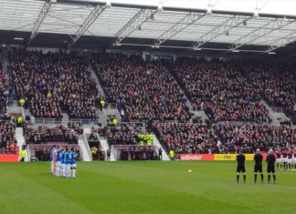 Hearts and Rangers players before kick off at Tynecastle on 2nd December 2018