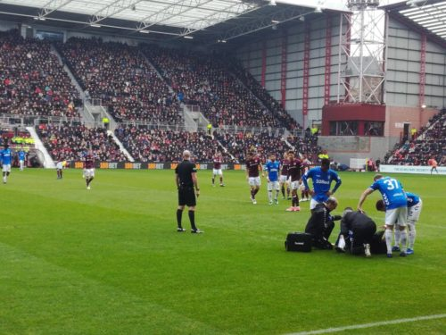 A player receives treatment during the Hearts v Rangers game at Tynecastle on 2nd December 2018