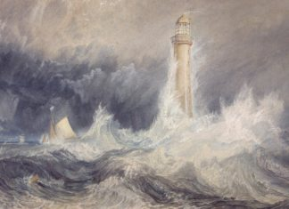 Depiction of the Bell Rock Lighthouse by Turner
